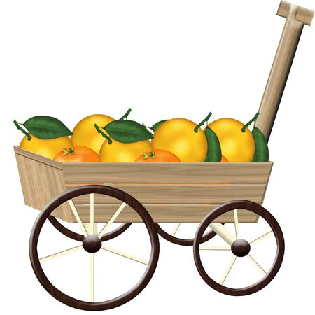 a little wooden wagon full of fresh fruit Çizim