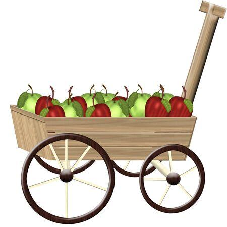 carreta madera: un carro de madera poco lleno de fruta fresca