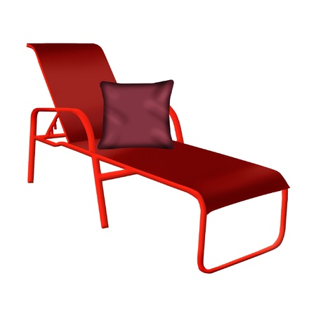 a lounge chair and pillow in bright colors Çizim