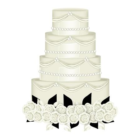 きれいな装飾のウェディング ケーキ  イラスト・ベクター素材