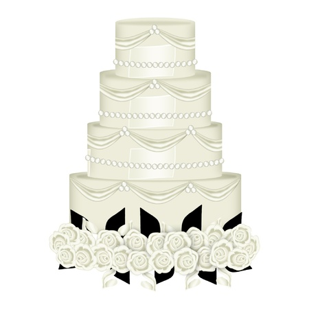 a wedding cake with pretty decorations Illustration