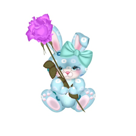 a cute little bunny holding a rose
