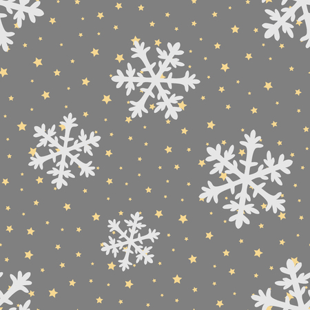 Vector christmas seamless pattern with geometric snowflakes and stars. Good for wrapping paper texture, posters, winter greeting cards, fashion design print texture. Archivio Fotografico - 115298512