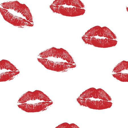 Vektorfrauenroter Lippenstiftkuss druckt nahtloses Muster. Rote Küsse für romantische, Hochzeits- und Valentinstaghintergründe