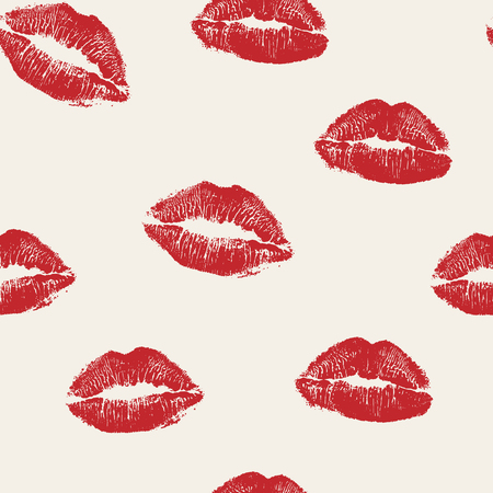 Vector woman red lipstick kiss prints seamless pattern. Red kisses for romantic, wedding and valentine backgrounds