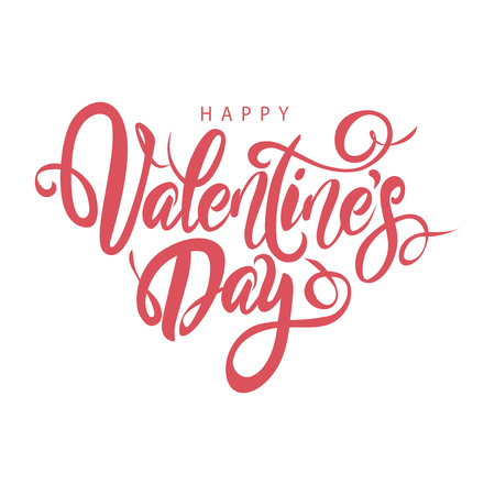 Happy Valentine's Day lovely hand drawn brush lettering, isolated on white background. Perfect for holiday flat design. Vector illustration. Vektorové ilustrace
