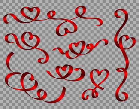 Vector realistic red ribbon hearts on transparent background for your design, valentines day, mothers day, breast cancer, love isolated illustration