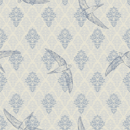 Vintage luxery royal seamless pattern with birds on damask flower background. Template greeting card, invitation, wallpaper and advertising banner, brochure Vecteurs