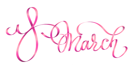 8 March International womens day brush calligraphy greeting. Pink ribbons hand drawn brush lettering, isolated on white background. Perfect for holiday design. Vector illustration. Ilustrace