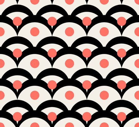 Japanese abstract wave dotted traditional vector seamless pattern in black and coral color style. Good background for sushi design Illustration