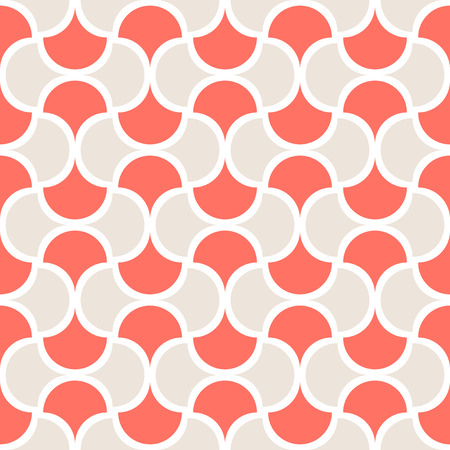 Seamless coral geometric pattern retro background. Simple geo texture. Clothing fabric print, wrap paper textile. Living coral. 2019 color