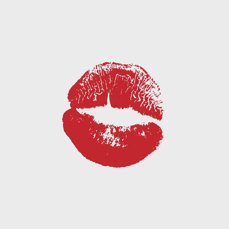 Vector illustration of womans girl red lipstick kiss mark isolated on white background. Valentines day icon, sign, symbol, clip art for design.
