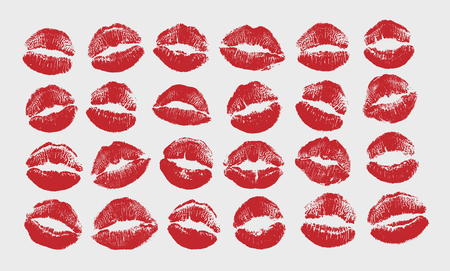 Print of red lips set. World kiss day, Valentines day design elements. Vector illustration of womans girl red lipstick kiss mark isolated on white background.