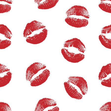 Vektorfrauenroter Lippenstiftkuss druckt nahtloses Muster. Rote Küsse für Romantik-, Hochzeits-, Weltkuss- und Valentinstag-Hintergründe