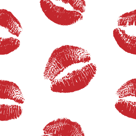 Vector woman red lipstick kiss prints seamless pattern. Red kisses for romantic, wedding, world kiss day and valentine backgrounds 向量圖像