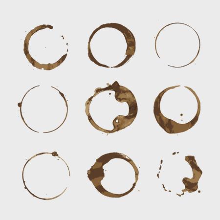 Set di anelli di tazza di macchie di caffè vettoriale. Isolato su sfondo bianco per il design del grunge Vettoriali