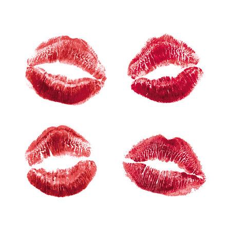 현실적인 그림 여자 빨간 립스틱 키스 마크의 벡터 집합입니다. 흰색 배경에 고립. 발렌타인 데이 아이콘, 세계 키스의 날. 기호, 기호, 디자인을 위한 클립 아트.