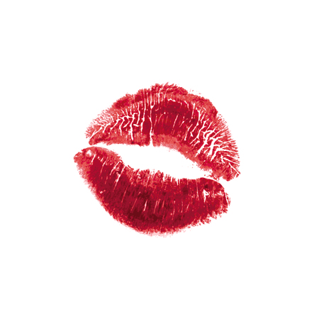 Vector realistic illustration of womans girl red lipstick kiss mark. Isolated on white background. Valentines day icon, world kiss day. sign, symbol, clip art for design.