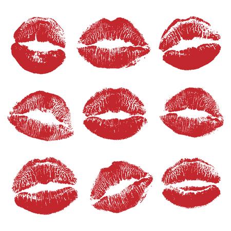 Afdrukken van rode lippen set. Wereld kus dag, Valentijnsdag ontwerpelementen. Vectorillustratie van dames meisje rode lippenstift kus mark geïsoleerd op een witte achtergrond.