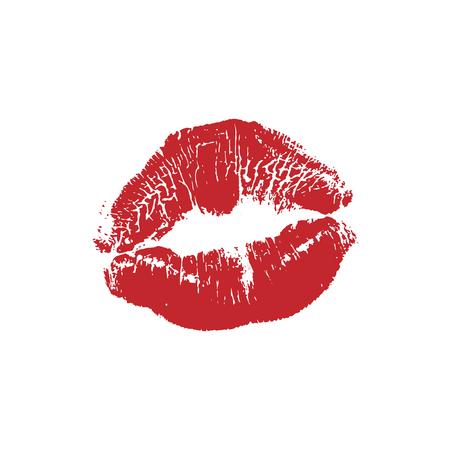 Illustrazione vettoriale del contrassegno di bacio del rossetto rosso della ragazza della donna isolato su priorità bassa bianca. Icona di San Valentino, segno, simbolo, clip art per il design.