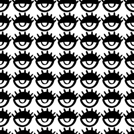 Seamless doodle trendy pattern with cartoon eyes. Teenage style background. Modern abstract fashion print