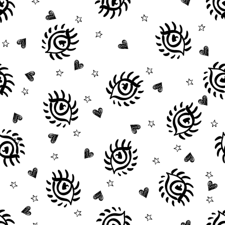 Seamless doodle trendy pattern with cartoon eyes, stars and hearts. Teenage style background. Modern abstract fashion print