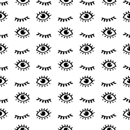 Seamless doodle trendy pattern with cartoon closed and open eyes. Teenage style background. Modern abstract fashion print