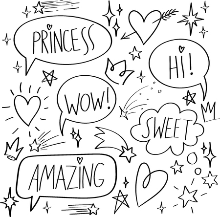 Cartoon dialogs cloud with princess elements. Set of think and talk speech bubbles for messages and dialog words. Doodle style clouds, hearts, stars, crowns