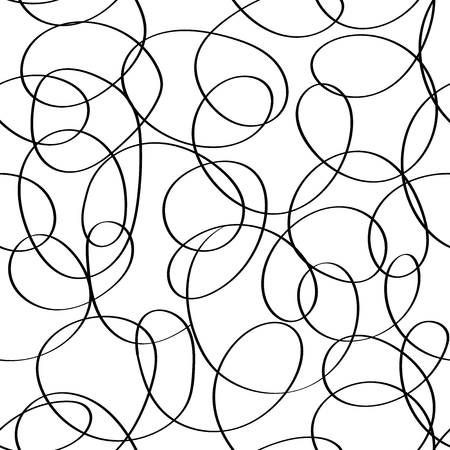 Vector doodle abstract seamless scribble background. Fantasy modern tangled pattern. Vibrant art chaos backdrop. Digital tortuous design. Creative tangled composition. 版權商用圖片 - 122861561