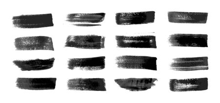 Painted grunge stripes set. Realistic black labels, background, paint texture. Brush strokes vector. Handmade design elements. Vector illustration