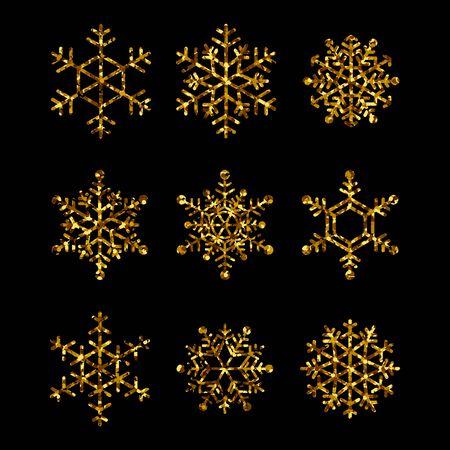 Kolekcja złotych płatków śniegu. Wektorowe ikony na białym tle na ferie zimowe, boże narodzenie i nowy rok ilustracje