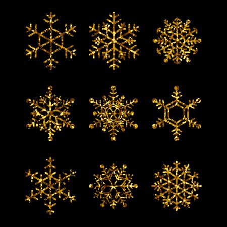 Raccolta di fiocchi di neve d'oro. Icone vettoriali isolate per le vacanze invernali, illustrazioni di natale e capodanno