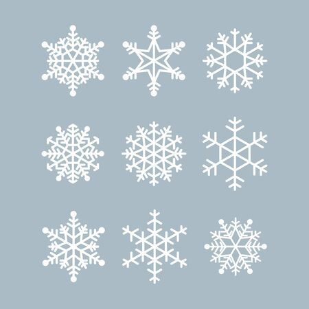 Collection of winter snowflakes. Vector icons for christmas and new year illustrations. Graphic modern white crystal Vektoros illusztráció
