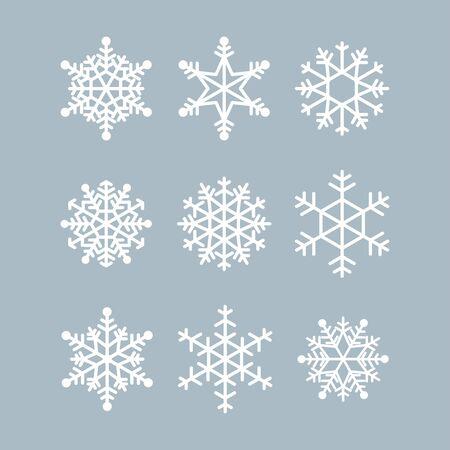 Raccolta di fiocchi di neve invernali. Icone vettoriali per le illustrazioni di Natale e Capodanno. Cristallo bianco moderno grafico Vettoriali