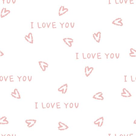 Seamlessly vector wallpaper valentine with hearts and superscription I love you