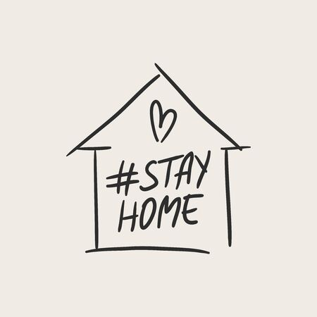 Stay home lettering typography poster with text for self quarine times. Hand letter script motivation sign catch word art design. Vintage style illustration for social media Çizim