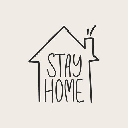 Stay home stay safe. Vector handwritten. Modern calligraphy for posters, social media content and cards. Black saying isolated on white background