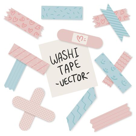 Set of colorful cute pastel craft tapes with variant patterns. Editable vector illustration file.