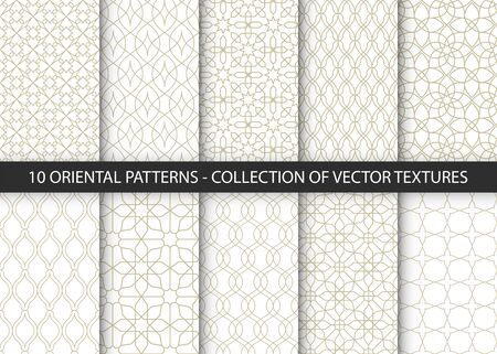 Collection of 10 oriental patterns. White and gold background with Arabic ornaments. Patterns, backgrounds and wallpapers for your design. Textile ornament. Vector illustration. Векторная Иллюстрация