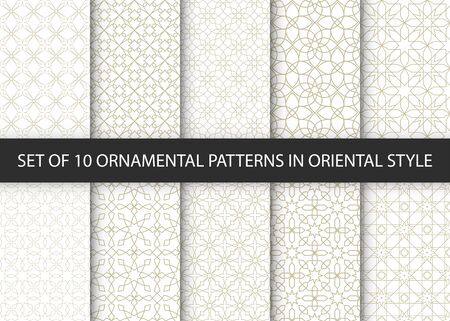 Collection of 10 oriental patterns. White and gold background with Arabic ornaments. Patterns, backgrounds and wallpapers for your design. Textile ornament. Vector illustration.