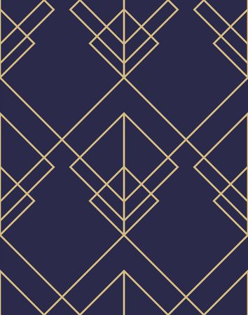 Geometric abstract ornamental pattern. Seamless vector background. Dark blue and gold texture. Graphic modern pattern