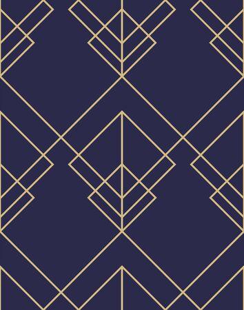 Motif ornemental abstrait géométrique. Fond vectorielle continue. Texture bleu foncé et or. Motif graphique moderne