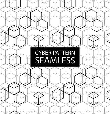 Seamless gray electronic pattern. Vector illustration with hexagones in high-tech style. Cyber texture