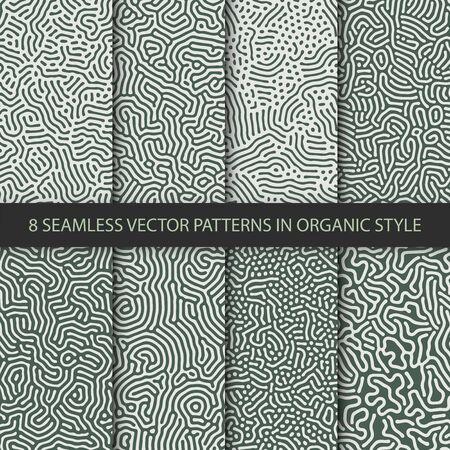 Set of 8 vector seamless organic rounded jumble maze lines patterns. Abstract green backgrounds Illusztráció
