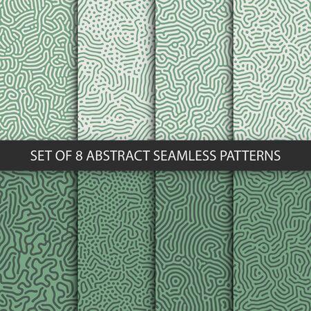 Set of 8 vector seamless green organic rounded jumble maze lines patterns. Abstract backgrounds Illusztráció