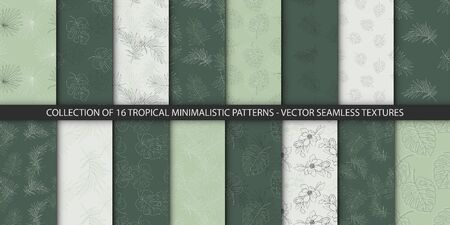 Collection of 16 seamless delicate tropical patterns. Summer exotic jungle plant palm leaves. Floral vector textures in green pastel colors. Nature wallpaper.