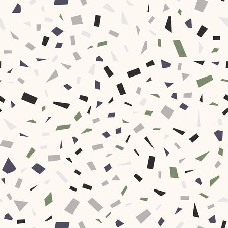 Terrazzo flooring vector seamless pattern in cold colors. Texture of classic italian type of floor in Venetian style composed of natural stone, granite, quartz, marble, glass and concrete