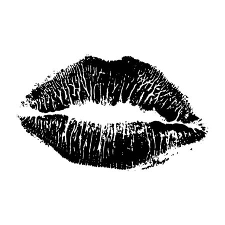 Beautiful lips isolated on white background. Kiss lipstick mark for your design. Illustration