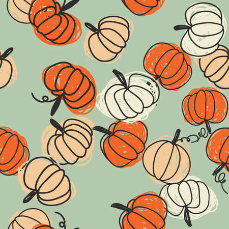 Seamless pattern with pumpkins. Beautiful background for Thanksgiving, halloween, autumn. 스톡 콘텐츠 - 154445983