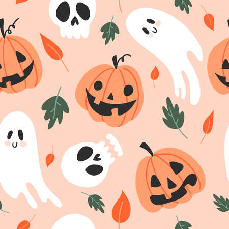 Vector seamless pattern for Halloween. Pumpkin, ghost and other items on Halloween theme. Bright cartoon pattern for Halloween 스톡 콘텐츠 - 154446116
